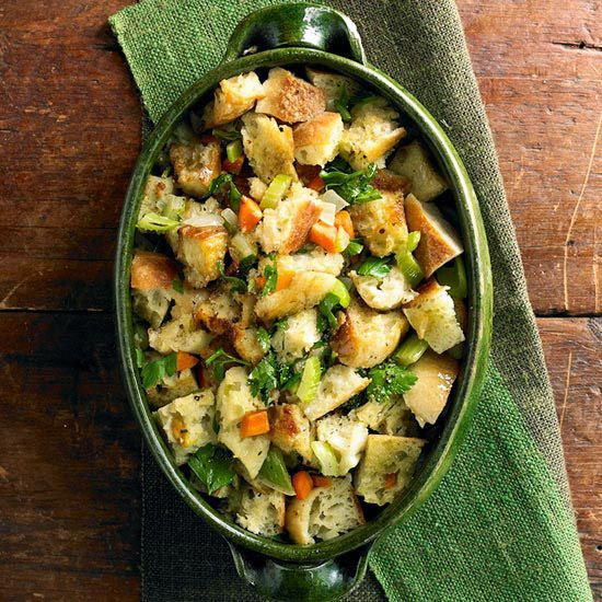 Looking for a #stuffing recipe just like Mom used to make? Our Old-Fashioned Bread Stuffing fits the bill. More stuffing #recipes: http://www.bhg.com/thanksgiving/recipes/7-make-ahead-stuffing-recipes/