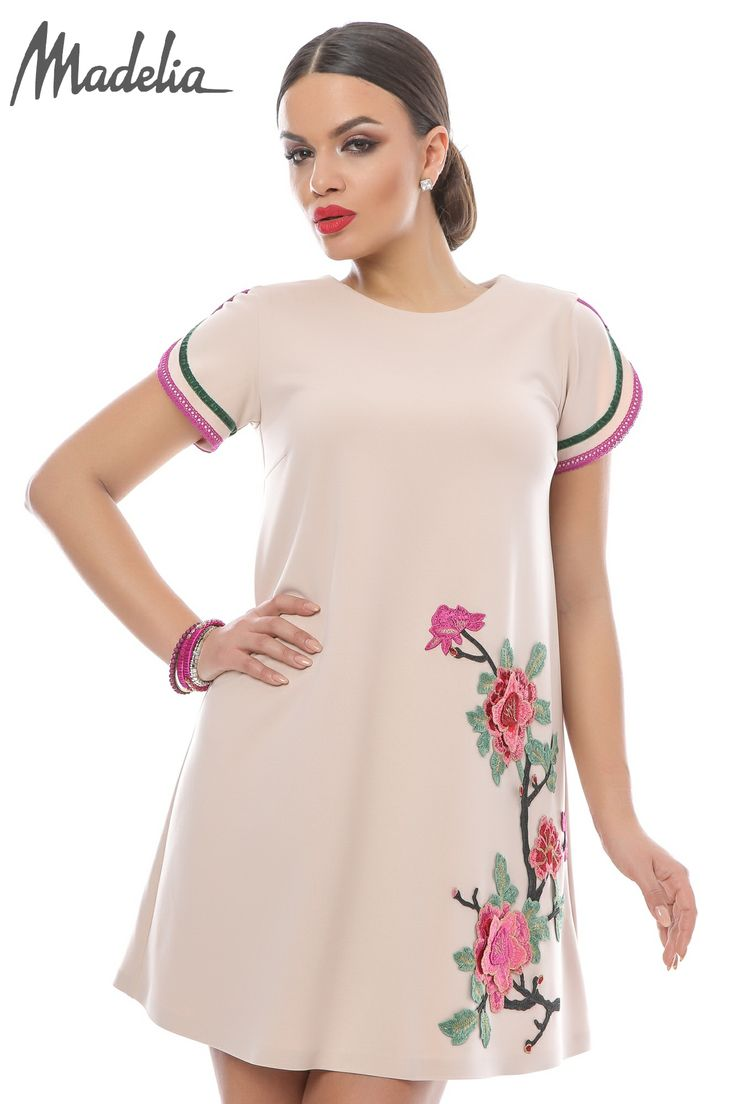 Rochie roze cu aplicatii florale   Madelia Fashion - Magazin online haine și rochii de damă