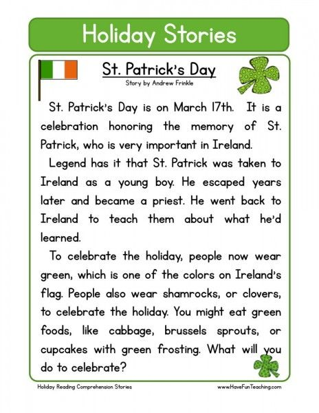 The story for St. Patrick's day about why it is celebrated.