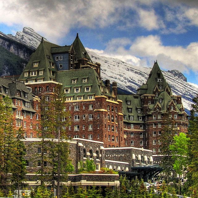 Banff Springs Hotel, Centre Block and South Wing, Banff, Alberta, Canada   by ecstaticist, via Flickr