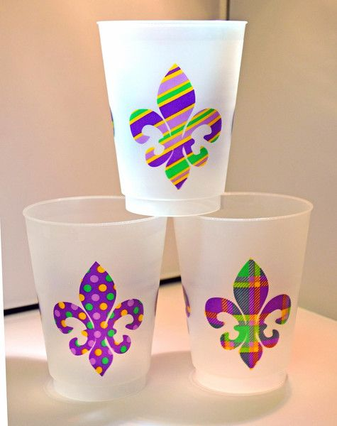 Mardi Gras Pattern Fleur De Lis Frost Flex cups — Party Cup Express