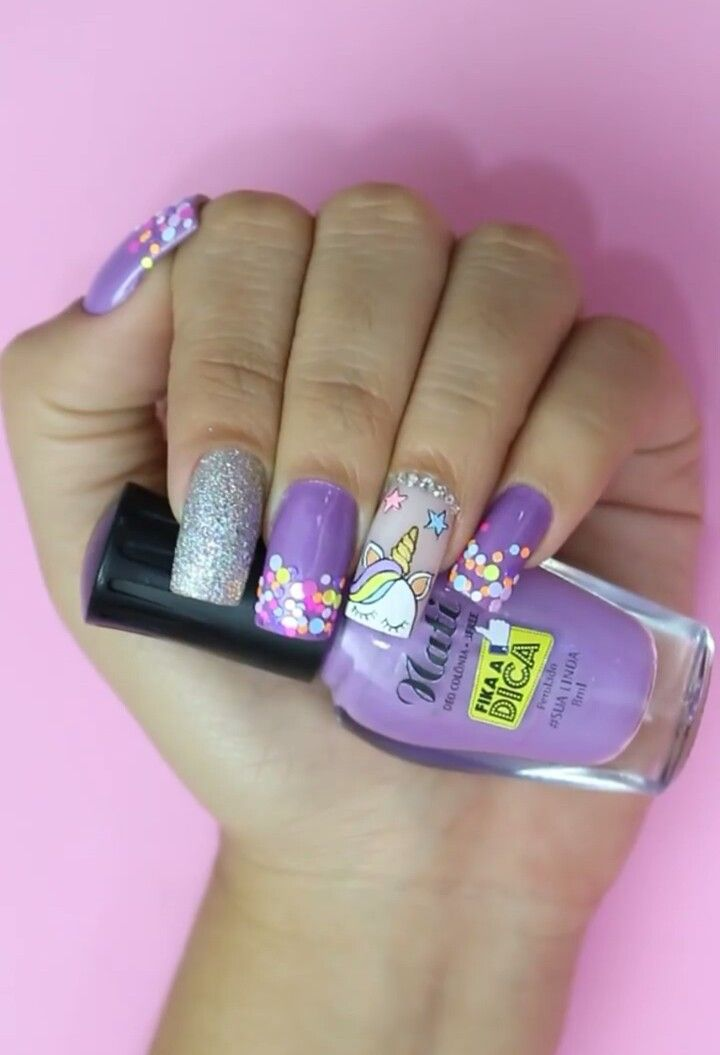 Uñas Lila Y Plata Unicornio Decoración De Uñas En 2019 Nails