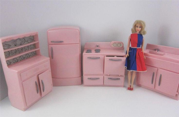 vintage pink kitchen   Tico Vintage 1950's Pink Plastic 4p Kitchen Furniture Set Barbie 12 ...