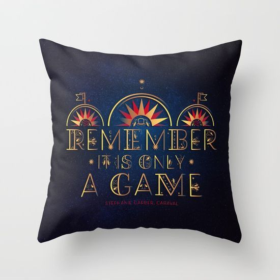 Caraval Only A Game Throw Pillow ~ $27 ~ Magical YA Book Gifts!