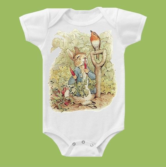 Peter Rabbit One Piece Baby Bodysuit, Tank or T-Shirt by ChiTownBoutique.etsy on Etsy, £9.57
