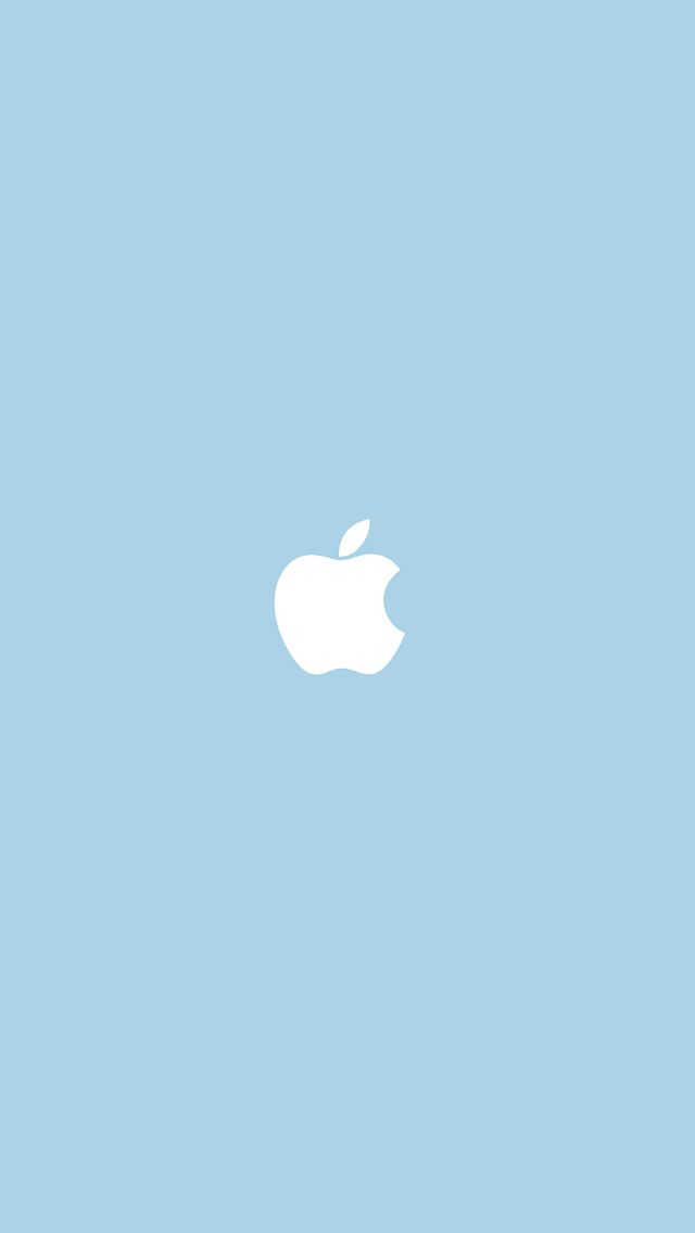 Apple Logo Baby Blue Background Simple Flat Illustration iPhone 5 Wallpaper