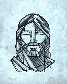 Twarz Ilustracja Jezus Chrystus