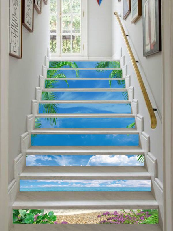 3d Bule Sky Beach 9 Stair Risers Decoration Photo Mural Vinyl Decal Wallpaper Ca Painted Stairs Stair Risers Stairs