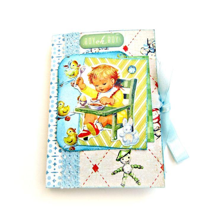 New baby boy album / Scrapbook album/ Premade album/ Blue mini album/ Photo mini album / Retro book/ Newborn handmade album/ Ready to ship by sweetpaperlife on Etsy