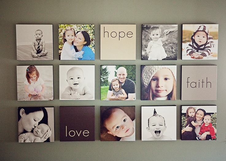 """fun for a big family wall someday, maybe not so """"neat"""" but the idea of just faces is cool."""