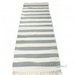 Streifen Teppich / Läufer Baumwolle grau natur - weiß 70...