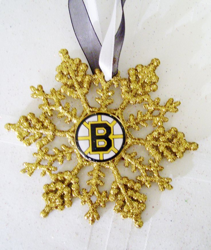 Boston BRUINS Hockey Fans!! Handmade Glitter Snowflake by ZZsTeamTime on Etsy