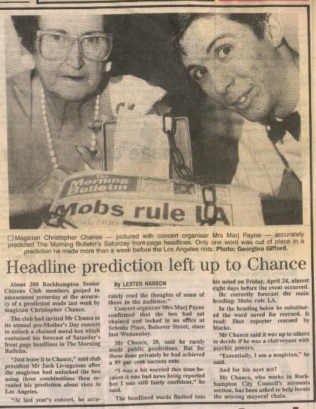 Chris Johnson (Christopher Chance), psychic entertainer and mentalist, first with the news before it happens.
