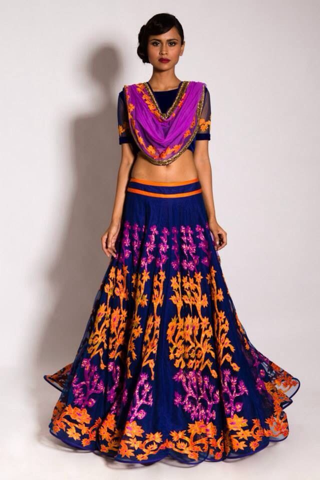 Lehenga by Neeta Lulla. Garba outfit for an Indian wedding.