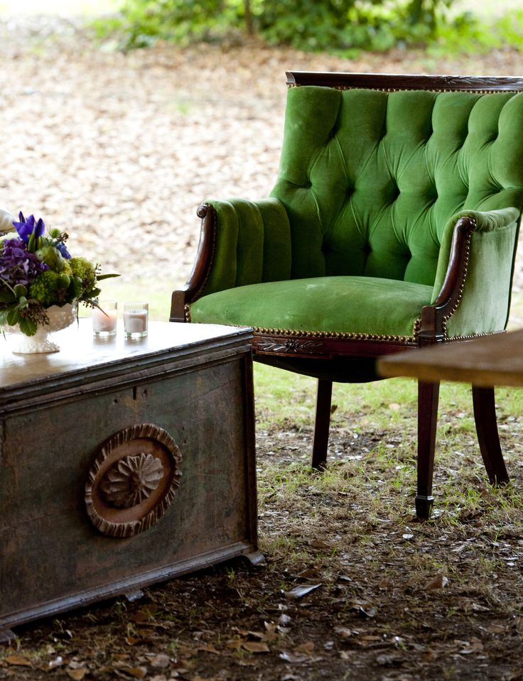 Green velvet chair -- at Ooh! Events, Charleston, SC