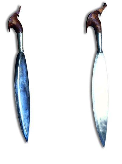 Tipos de barong, siglo 19, hierro, plata y madera, islas Joló de Filipinas, MUSEO ORIENTAL DE VALLADOLID