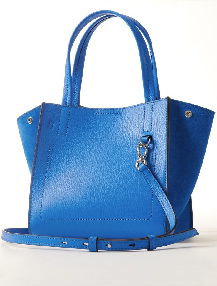 Add a pop of blue to your look with our luxurious vibrant hued Italian leather and suede carry all tote | Banana Republic
