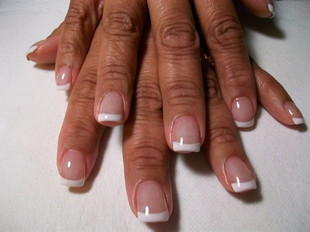 Acrylic Overlay w/ Painted French Tips - Nail Art photos