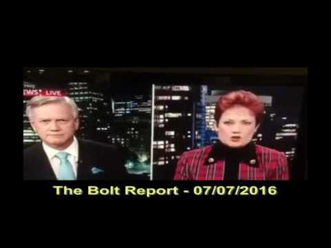 The Bolt Report - 07/07/2016. Andrew Bolt talking to Pauline Hanson in relation to Islam and mentions his family was threatened by Muslims.