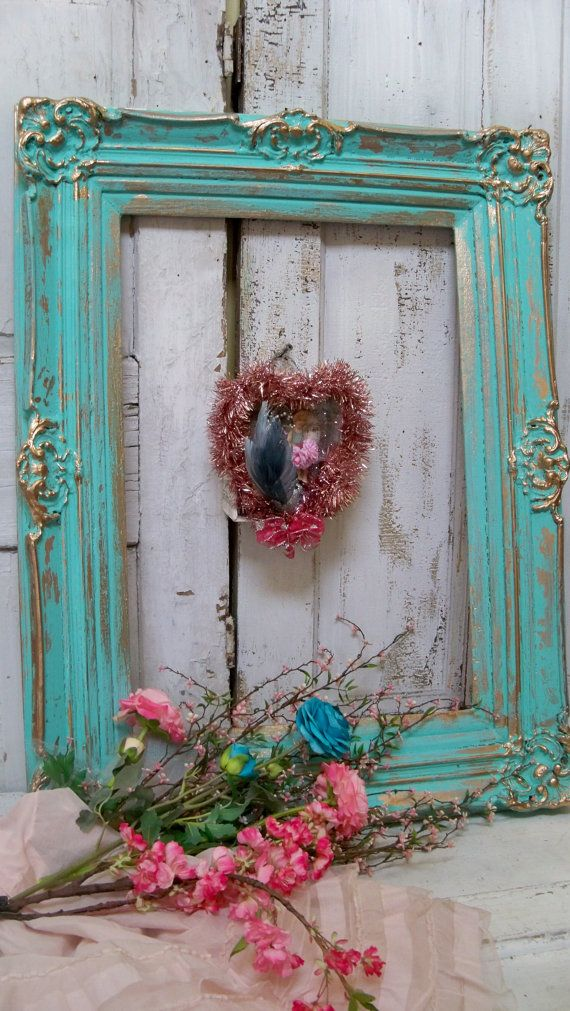 Large wood frame shabby chic hand painted aqua by AnitaSperoDesign, $210.00