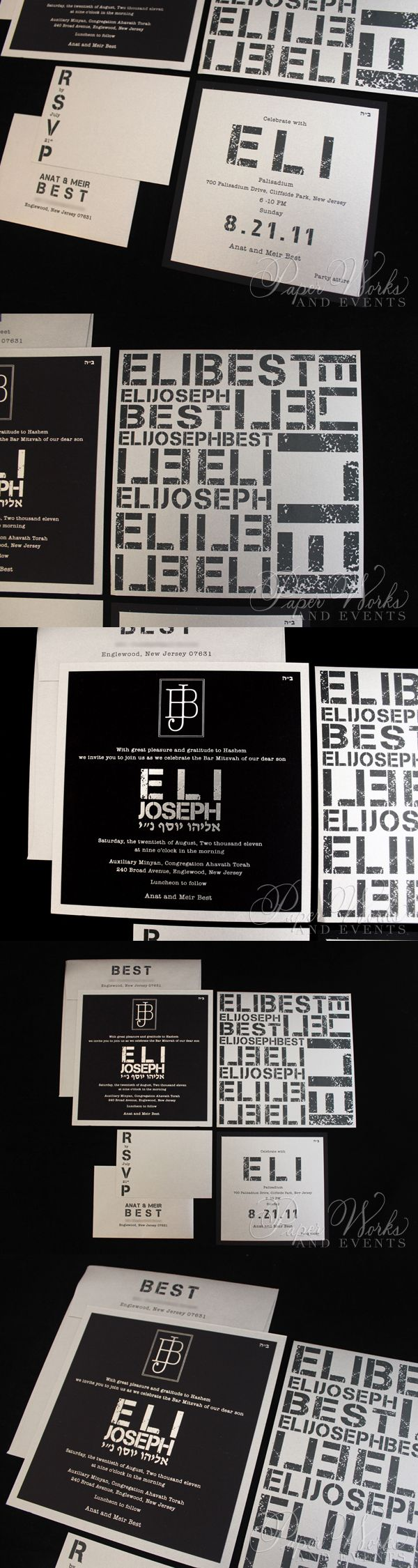 Distressed typewriter fonts and silver foil stamping made for this really cool Modern Bar Mitzvah invitation. Reminiscent of wall art, this modern invitation was perfect for a Bar Mitzvah in Englewood, New Jersey and a celebration in Cliffside Park, New Jersey.