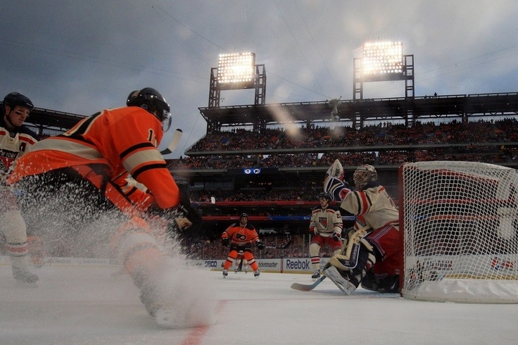 HOCKEY | 2012 NHL WINTER CLASSIC ■ The Philadelphia Flyers take on the New York Rangers during the 2012 Bridgestone NHL Winter Classic at Citizens Bank Park on January 2, 2012 in Philadelphia, Pennsylvania.