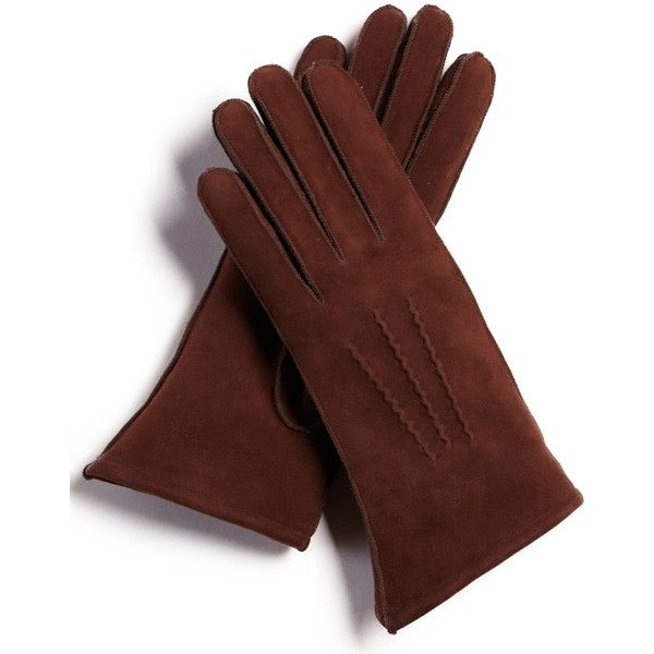 FRR Aspen Shearling Sheepskin Gloves in Brown ($50) ❤ liked on Polyvore featuring accessories, gloves, synthetic gloves, faux-fur gloves, frr, brown gloves and sheepskin gloves