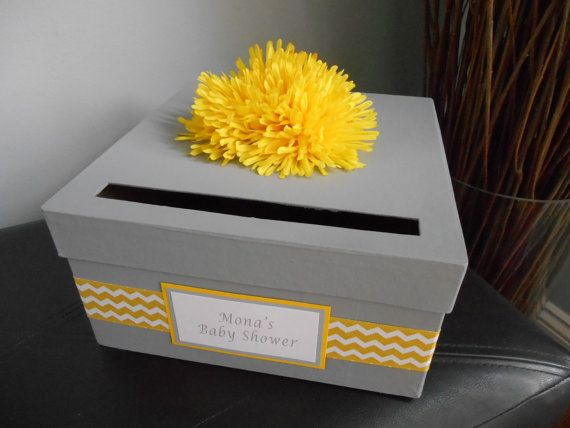 Gray and Yellow Baby Shower Card Box Gender Neutral. Chevron Pattern. Great Baby Keepsake Box!