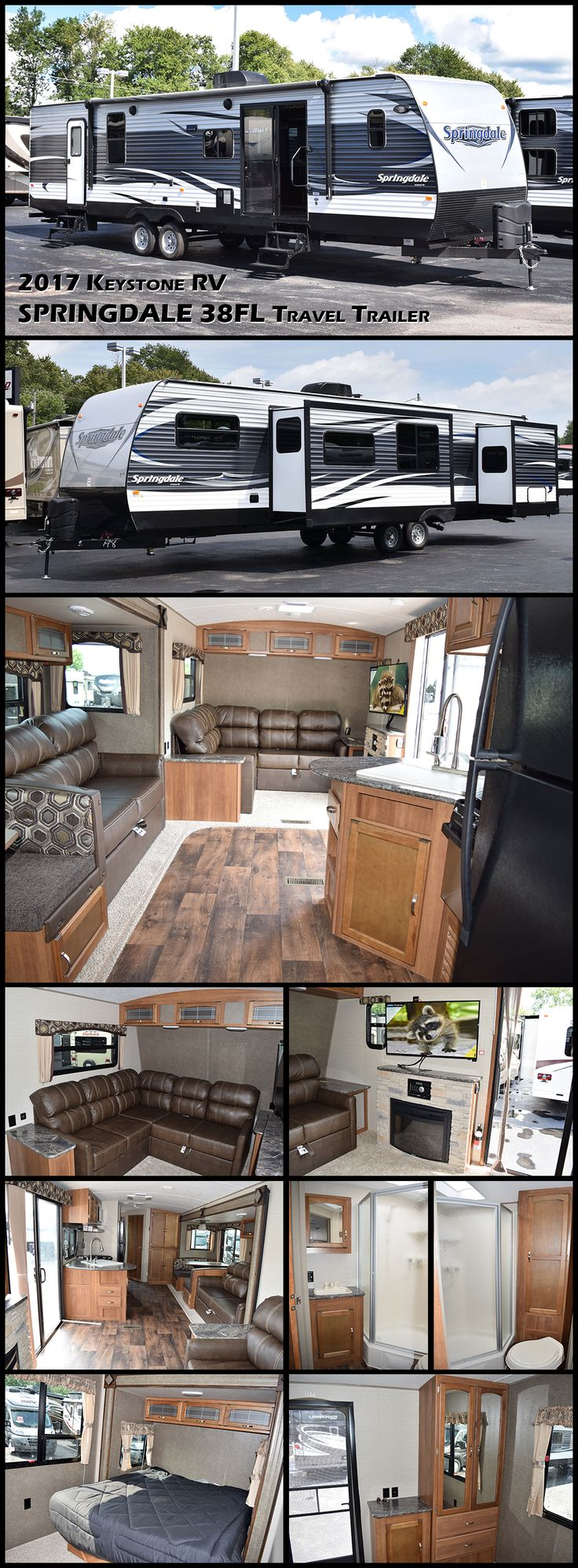 This 2017 Keystone RV SPRINGDALE 38FL is the perfect value residential travel trailer. The front living room is beautiful, with a corner couch, cozy fireplace and large sliding glass door. The kitchen is well-equipped with a residential refrigerator and great storage. The bathroom has plenty of headroom in the neo-angle shower and good linen storage. In the rear of the trailer is the master bedroom. Plenty of windows allow natural light inside, creating an open atmosphere.