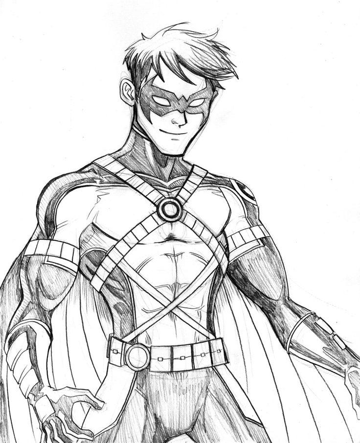 Line Drawing Robin : Robin superhero drawing hood google search batman