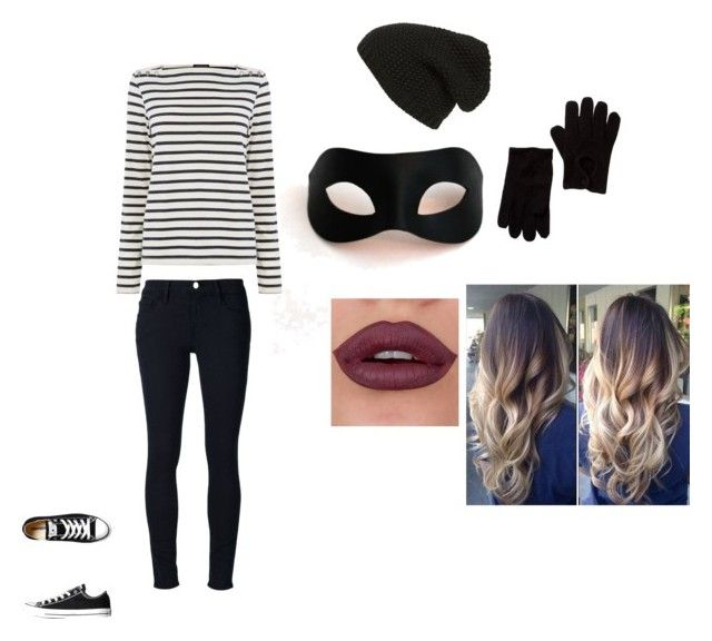 disfraz de ladron (ultimo minuto) by alee211 on Polyvore featuring moda, Warehouse, Frame Denim, Converse, Phase 3, San Diego Hat Co. and Masquerade