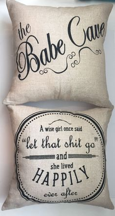 Our double sided pillows have coordinated sayings and original designs on the…