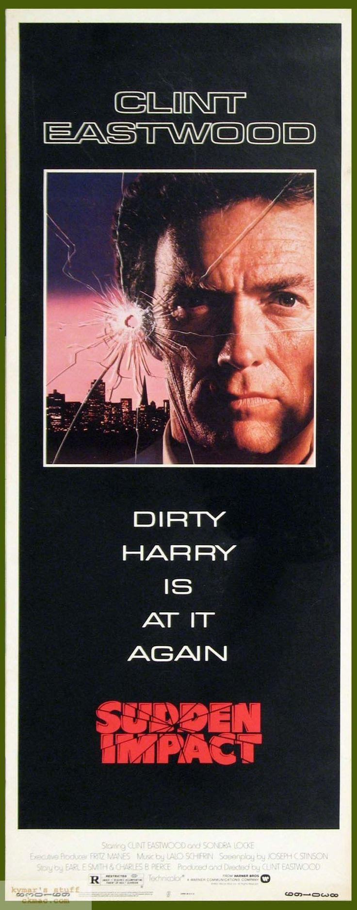 SUDDEN IMPACT - Clint Eastwood as 'Dirty Harry' Callahan - Produced & Directed by Clint Eastwood - Warner Bros. - Insert movie poster.