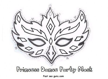 Free Printable princess dance party mask cutouts coloring in mask for girls