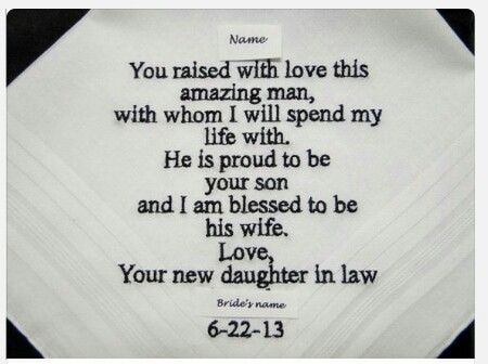 Beautiful idea for mother in law or father in law from the bride
