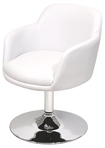 Febland Bucketeer Swivel Dining Chair, Faux Leather, White