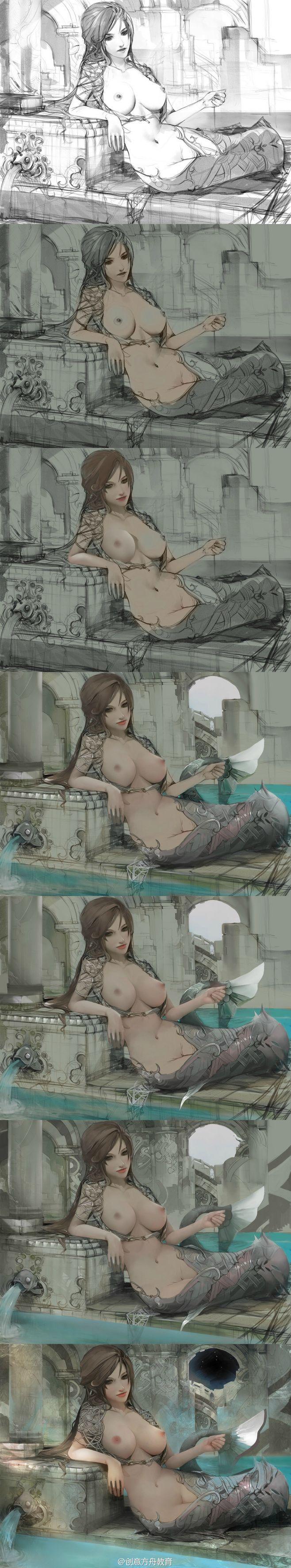 美人鱼绘画过程@禅武形意采集到绘画(24图)_花瓣生活百科