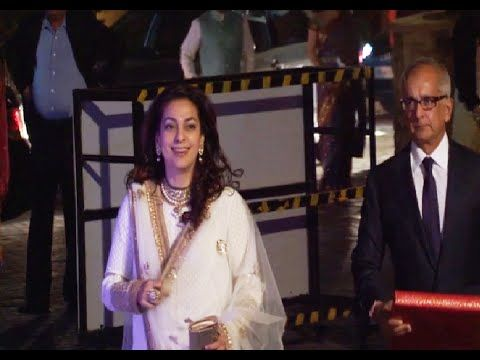 Juhi Chawla at Manish Malhotra's niece Riddhi Malhotra's wedding reception.