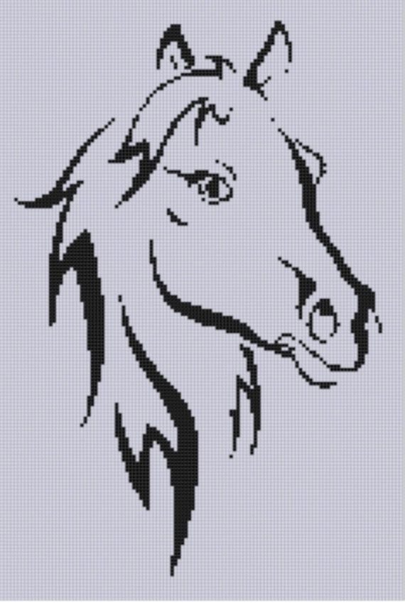 Horse Head 4 Cross Stitch Pattern by MotherBeeDesigns on Etsy, $0.99