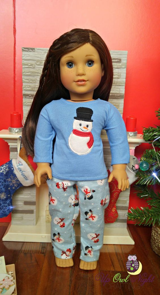 Snowman PJs fit American Girl by upowlnightcrafting