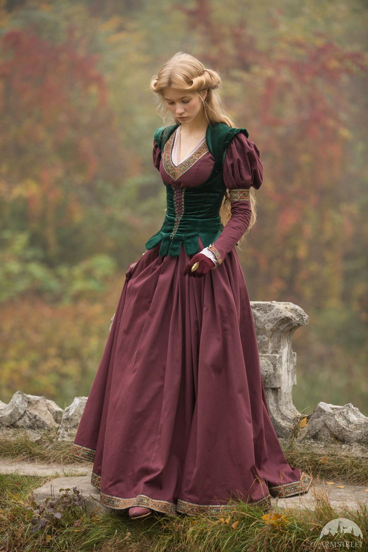 """Costume """"Princess in Exile"""" . Available in: dark blue cotton, green cotton, white cotton, black cotton, blue cotton, burgundy cotton, blue rowena trim, red rowena trim, green sleeves trim, princess in exile trim, blue natural velvet, bottle green natural velvet, burgundy natural velvet, black natural velvet :: by medieval store ArmStreet"""