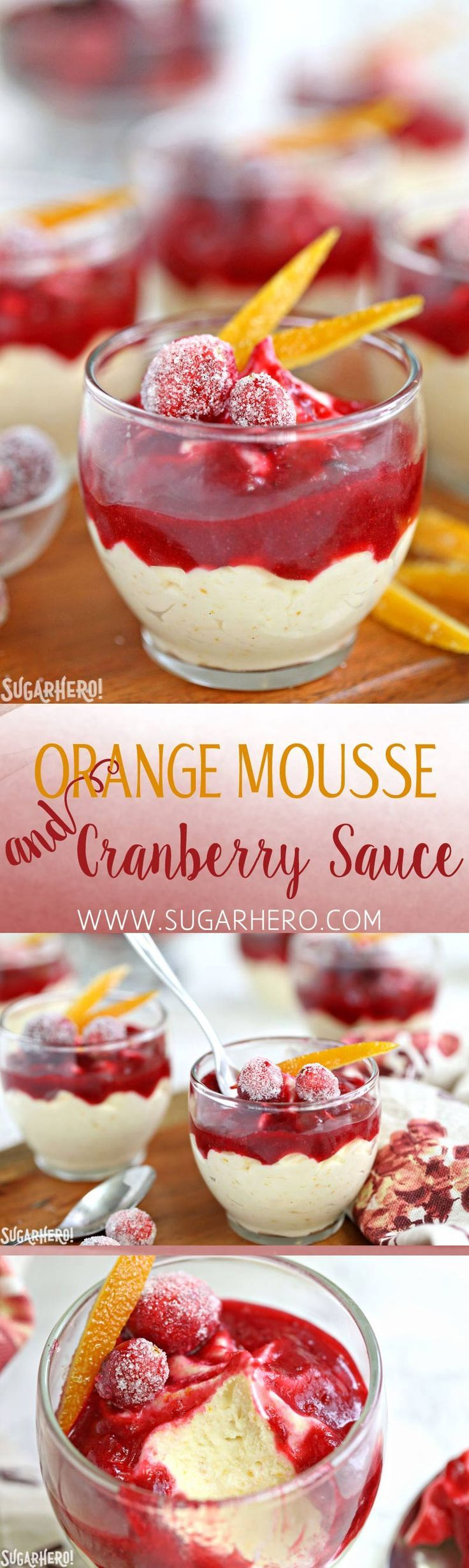 Orange Mousse with Cranberry Sauce - a light white chocolate/orange mousse, topped with sweet-tart cranberry sauce! | From SugarHero.com