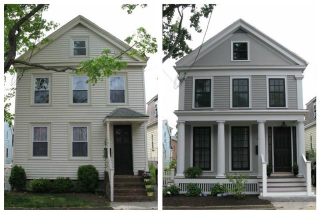 "Greek Revival Exterior Renovation - Before and After   The final paint colors were:    House body:  Benjamin More ""Graystone""  House trim:  Benjamin Moore ""Silver Chain""   NICE that we have the colors listed here.  Our house has similar dark aluminum/steel windows."