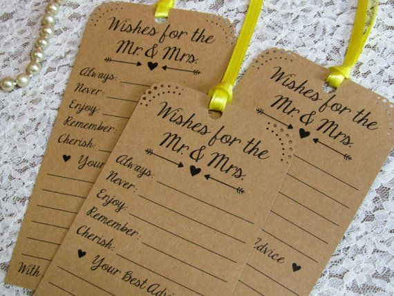 Set of 12 Bridal Shower or Wedding Wishing Tree Tags / Advice Tags / Neutral Kraft Paper Vintage Rustic