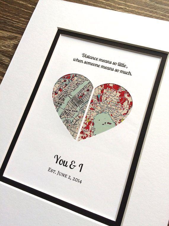 Long Distance Relationship Map Art Weihnachtsgeschenk Geschenk für Freundin ode…