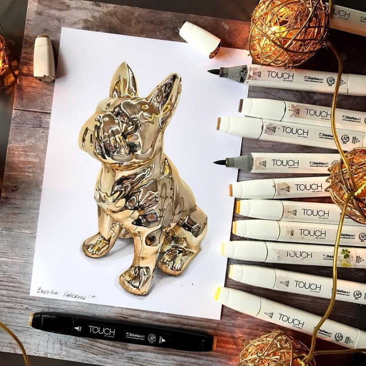 Gold Frencie French Bulldog. Architectural Drawings with Urban Sketches, come and see the video. By Katerina Kurtakova.
