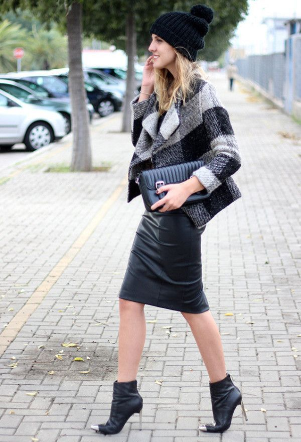 Leather pencil skirt with ankle boots – Modern skirts blog for you
