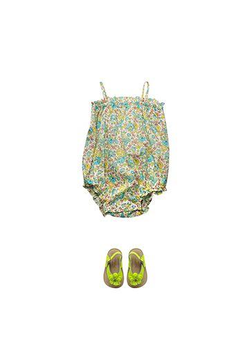 Bonpoint Summer 2015: Nèfle romper suit Lime Liberty Babflo baby sandals Acid Yellow