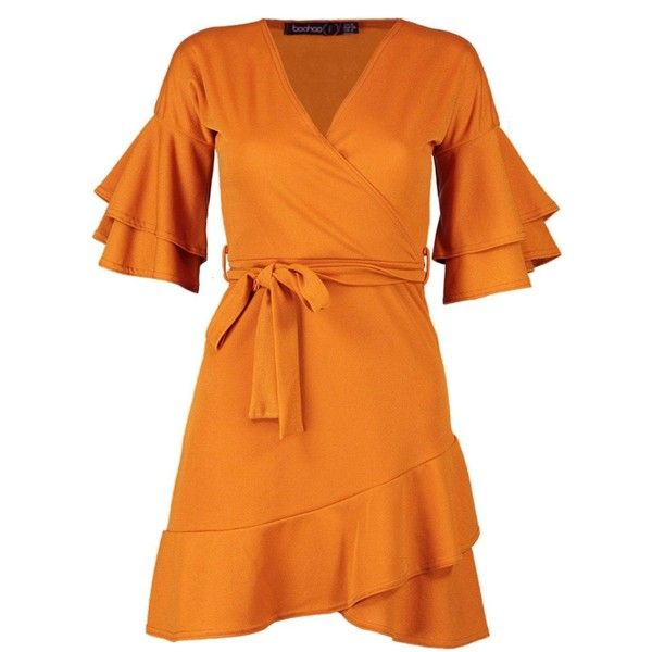 Boohoo Petite Riley Ruffle Sleeve Wrap Frill Dress ($13) ❤ liked on Polyvore featuring dresses, orange wrap dress, flutter sleeve dress, boohoo dresses, frilly dresses and flounce sleeve dress