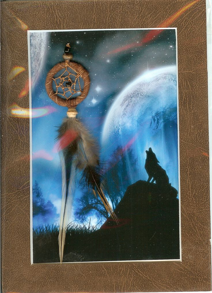 Dream Catcher with Fantasy wolf image